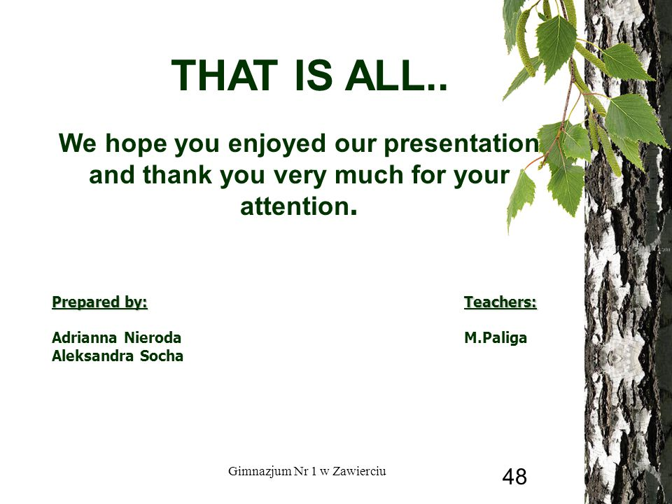 THAT IS ALL.. We hope you enjoyed our presentation and thank you very much for your attention.