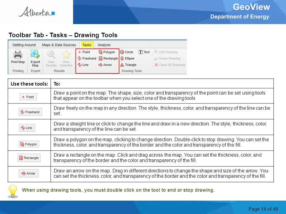 Page 14 of 48 Toolbar Tab - Tasks – Drawing Tools Use these tools:To: Draw a point on the map.
