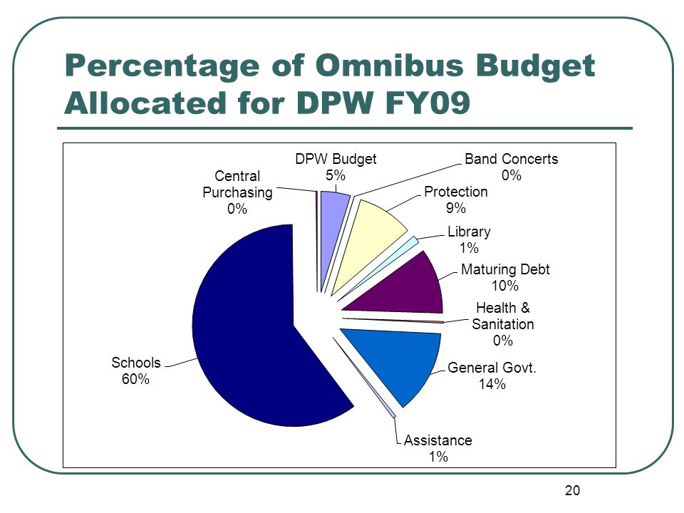 20 Percentage of Omnibus Budget Allocated for DPW FY09