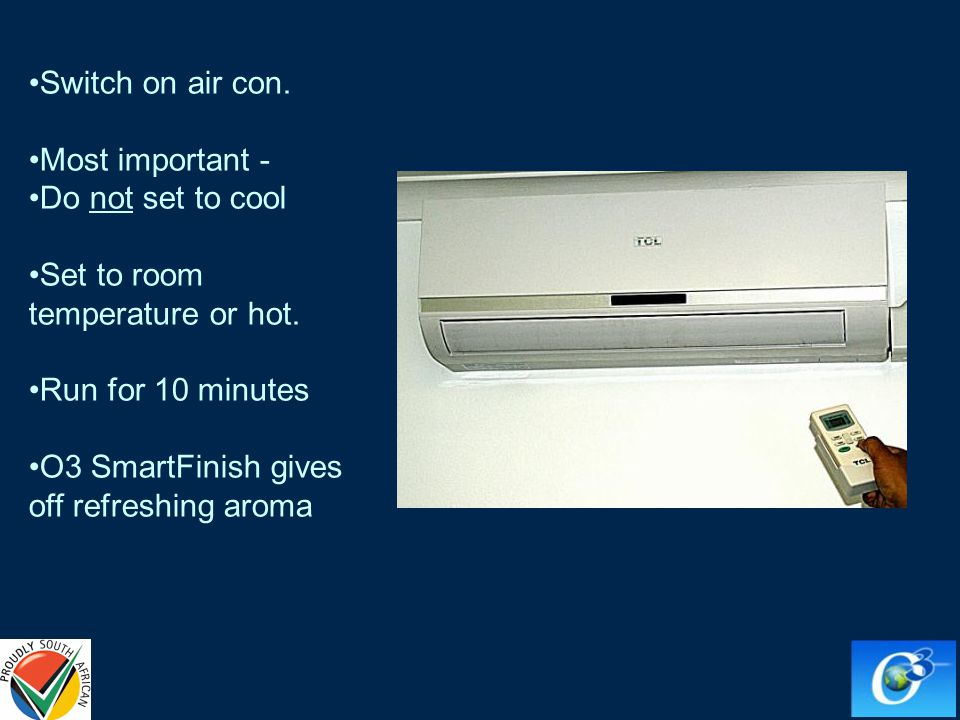 Switch on air con. Most important - Do not set to cool Set to room temperature or hot.