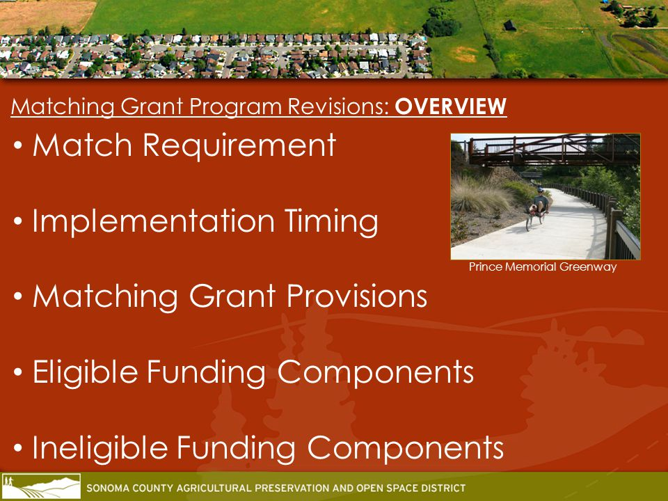 Matching Grant Program Revisions: NEXT STEPS Host 2011-12 Matching Grant Program: Mandatory workshop in mid-January Application period until late February Project Evaluation Period: 6-8 months Project recommendations: Return to Board for approval Summer 2012