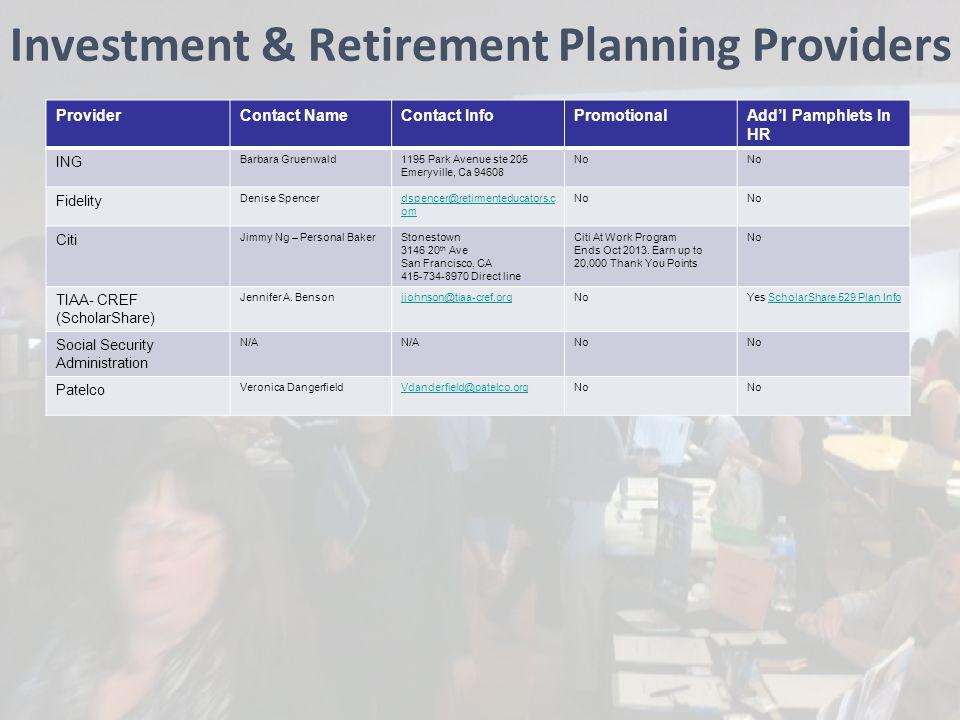 Investment & Retirement Planning Providers ProviderContact NameContact InfoPromotionalAddl Pamphlets In HR ING Barbara Gruenwald1195 Park Avenue ste 2