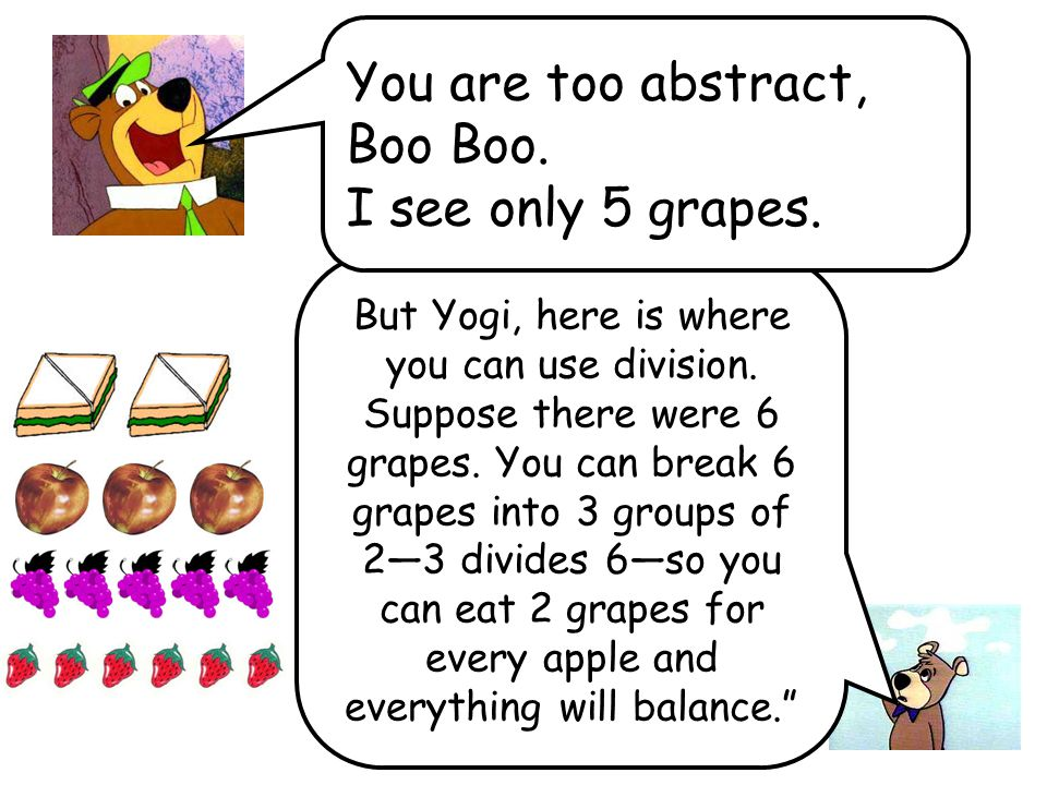 But Yogi, here is where you can use division. Suppose there were 6 grapes.