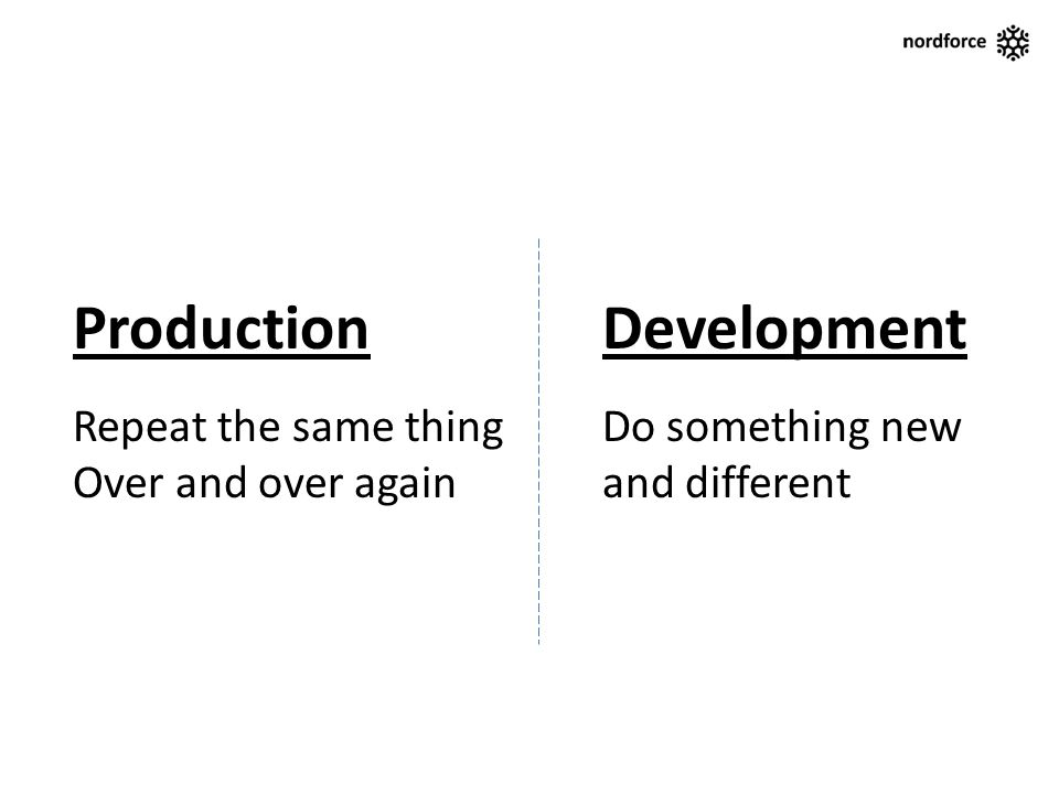 ProductionDevelopment Repeat the same thingDo something new Over and over againand different