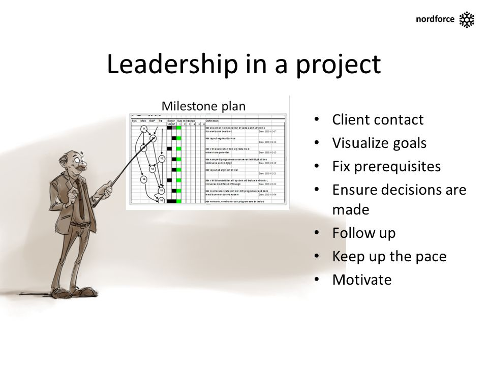 Leadership in a project Client contact Visualize goals Fix prerequisites Ensure decisions are made Follow up Keep up the pace Motivate