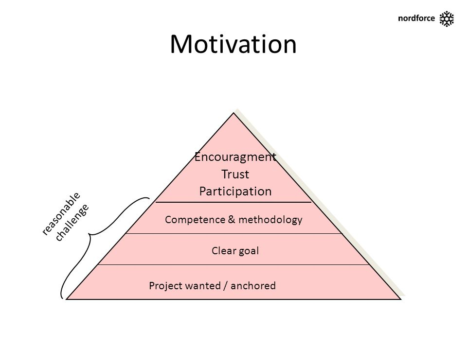 Motivation Clear goal Project wanted / anchored Competence & methodology reasonable challenge Encouragment Trust Participation