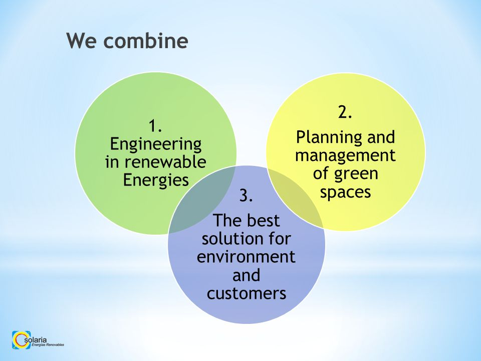 We combine 1. Engineering in renewable Energies 3.