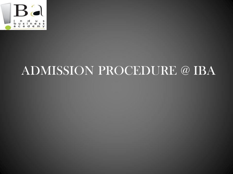 ADMISSION PROCEDURE @ IBA