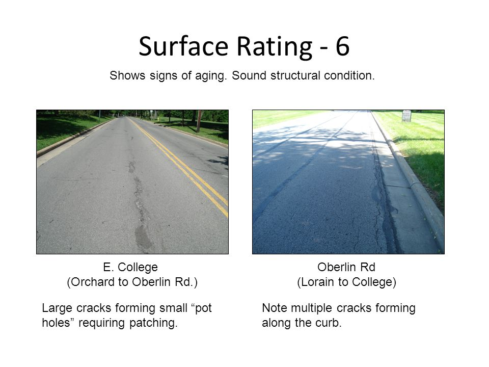 Surface Rating - 6 E. College (Orchard to Oberlin Rd.) Shows signs of aging.