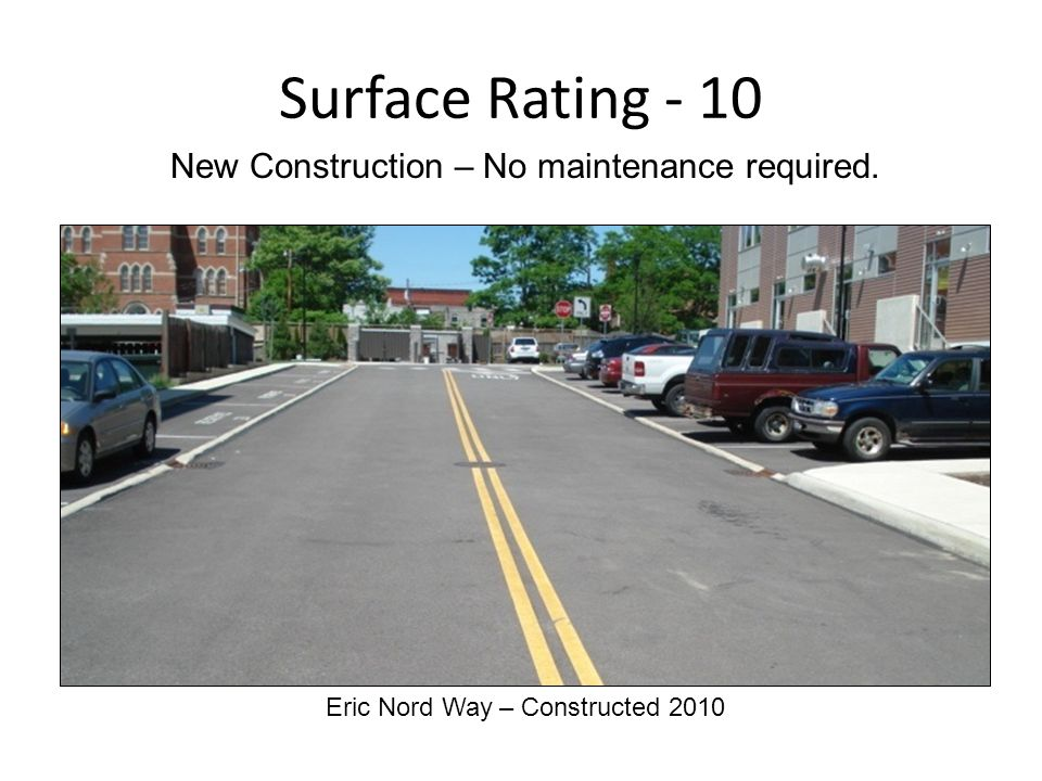Surface Rating - 10 Eric Nord Way – Constructed 2010 New Construction – No maintenance required.