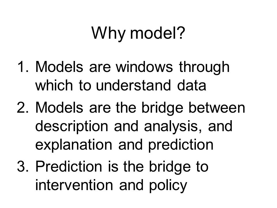 Characteristics of models Have inputs and outputs Simplify and reduce Relate system to basic behavior of phenomenon (process) Recreate structures (form) Generate predictions (forecasts) Propagate errors (Calibration, validation) Allow experiments