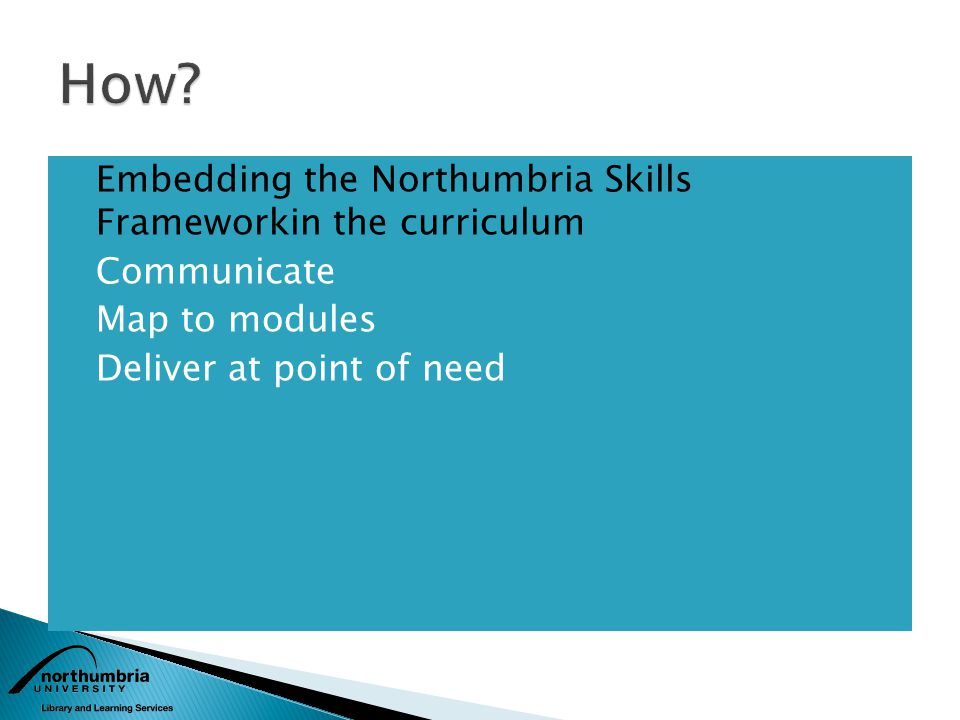 Embedding the Northumbria Skills Frameworkin the curriculum Communicate Map to modules Deliver at point of need