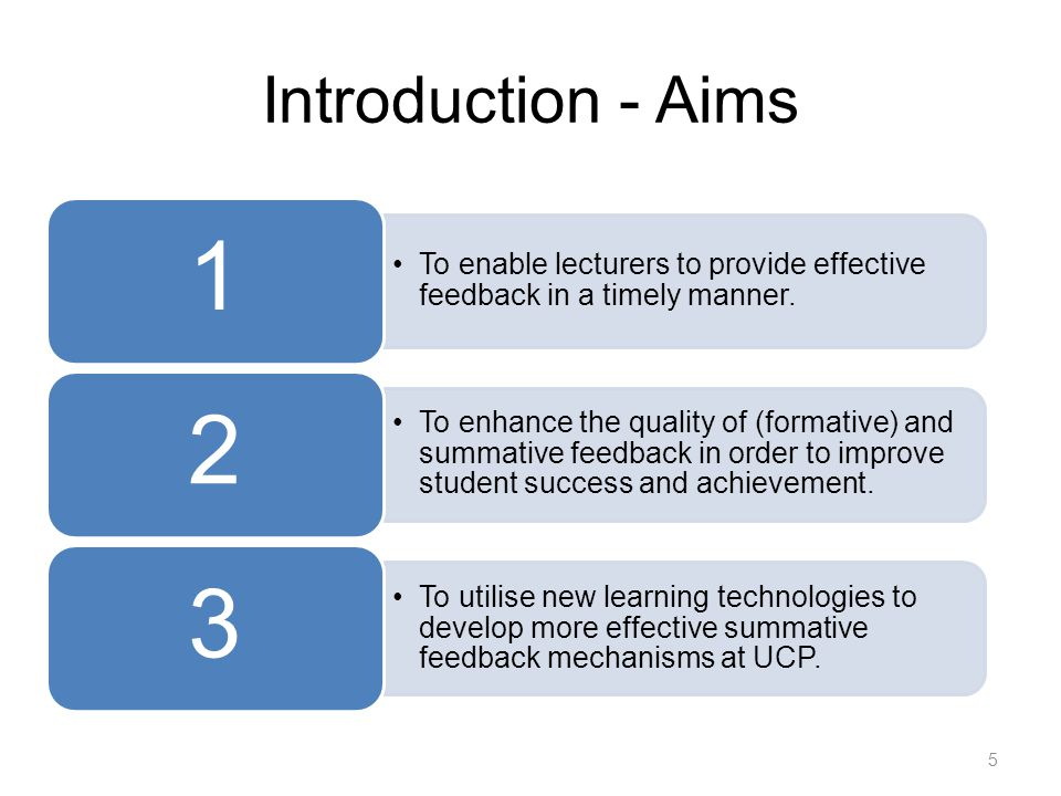 Introduction - Aims To enable lecturers to provide effective feedback in a timely manner.