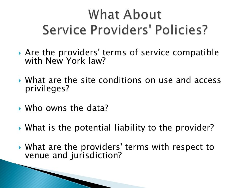 Are the providers terms of service compatible with New York law.
