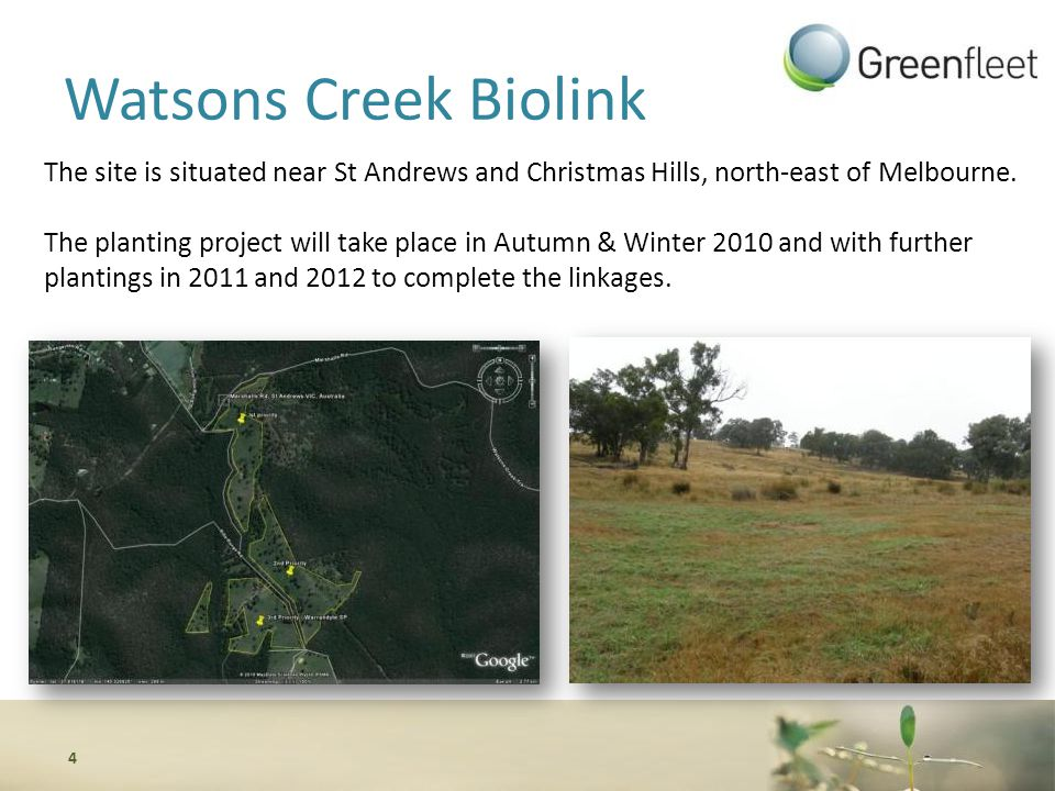 Watsons Creek Biolink The site is situated near St Andrews and Christmas Hills, north-east of Melbourne.