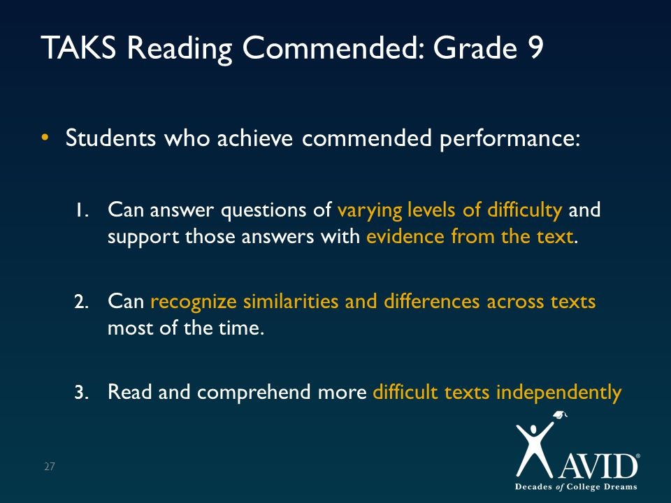 TAKS Reading Commended: Grade 9 Students who achieve commended performance: 1. Can answer questions of varying levels of difficulty and support those
