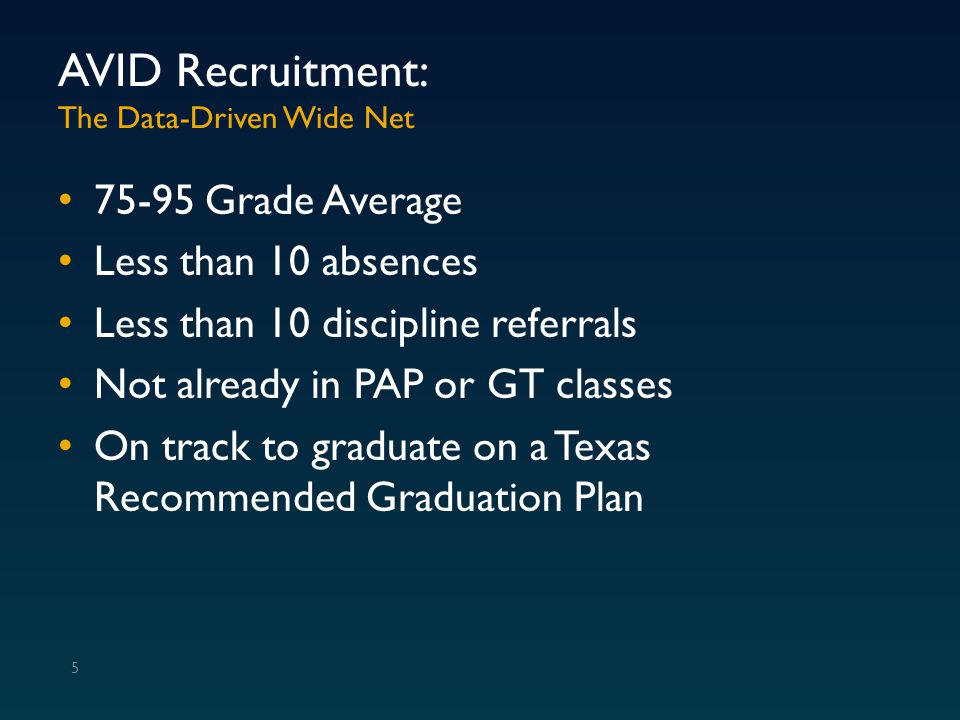 AVID Recruitment: The Data-Driven Wide Net 75-95 Grade Average Less than 10 absences Less than 10 discipline referrals Not already in PAP or GT classe