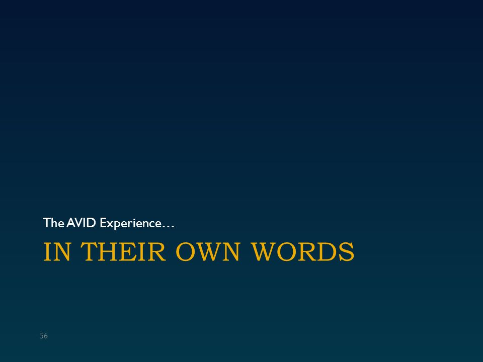 IN THEIR OWN WORDS The AVID Experience… 56