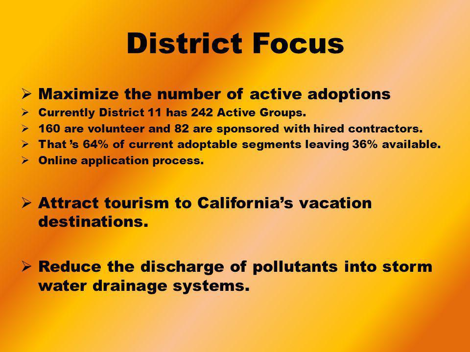 District Focus Maximize the number of active adoptions Currently District 11 has 242 Active Groups. 160 are volunteer and 82 are sponsored with hired