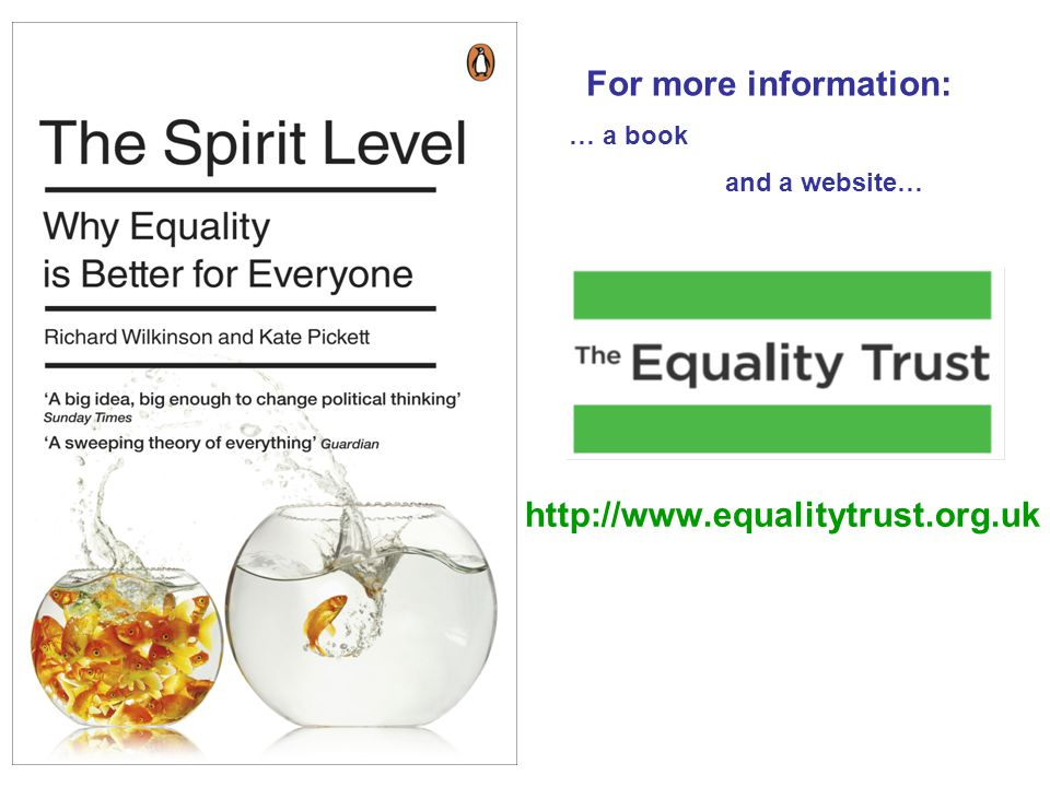 http://www.equalitytrust.org.uk For more information: … a book and a website…