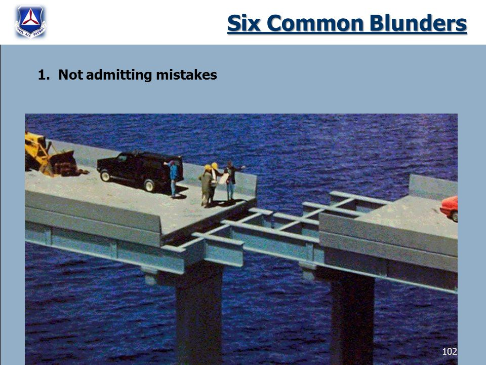 Six Common Blunders 1. Not admitting mistakes 102