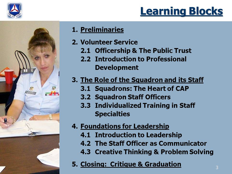 Learning Blocks 1.Preliminaries 2.Volunteer Service 2.1Officership & The Public Trust 2.2Introduction to Professional Development 3.The Role of the Sq