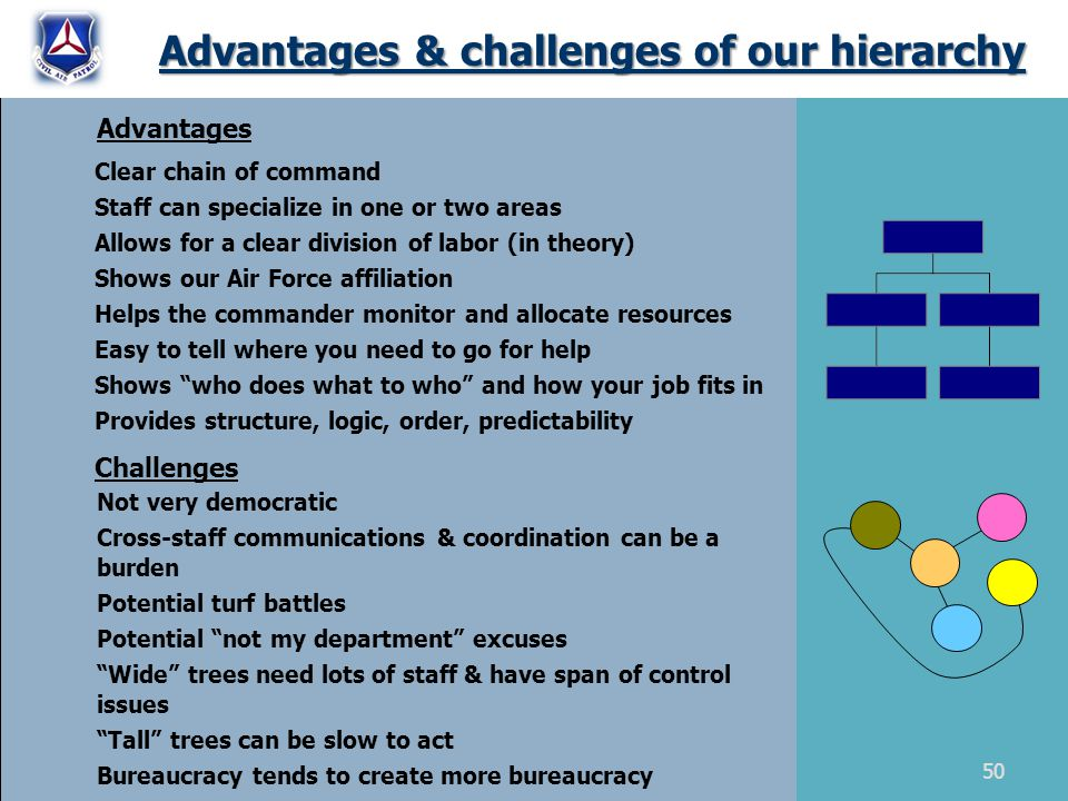 Advantages & challenges of our hierarchy Clear chain of command Staff can specialize in one or two areas Allows for a clear division of labor (in theory) Shows our Air Force affiliation Helps the commander monitor and allocate resources Easy to tell where you need to go for help Shows who does what to who and how your job fits in Provides structure, logic, order, predictability Advantages Challenges Not very democratic Cross-staff communications & coordination can be a burden Potential turf battles Potential not my department excuses Wide trees need lots of staff & have span of control issues Tall trees can be slow to act Bureaucracy tends to create more bureaucracy 50