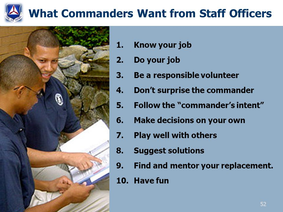 What Commanders Want from Staff Officers 1.Know your job 2.Do your job 3.Be a responsible volunteer 4.Dont surprise the commander 5.Follow the command