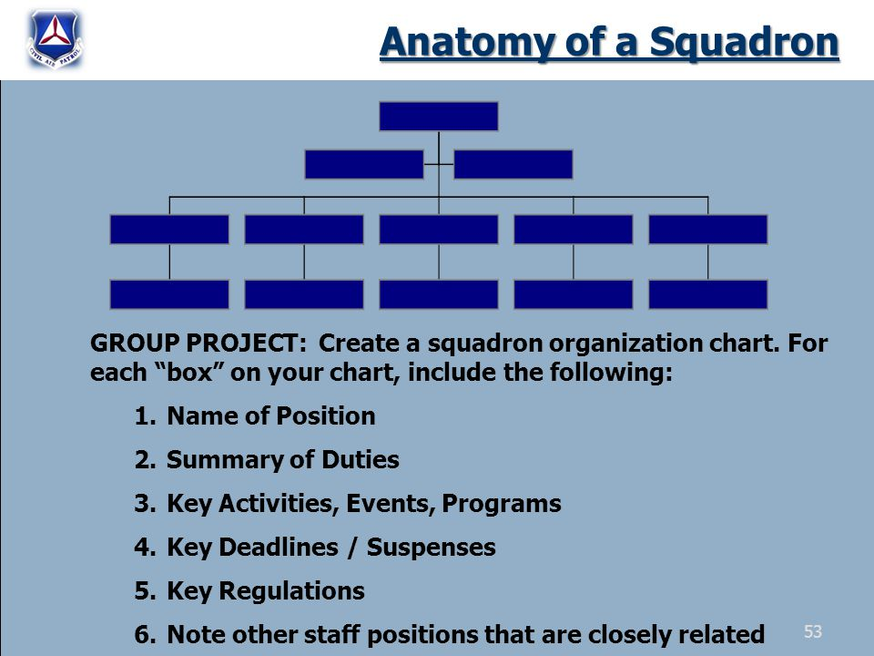 Anatomy of a Squadron GROUP PROJECT: Create a squadron organization chart. For each box on your chart, include the following: 1.Name of Position 2.Sum
