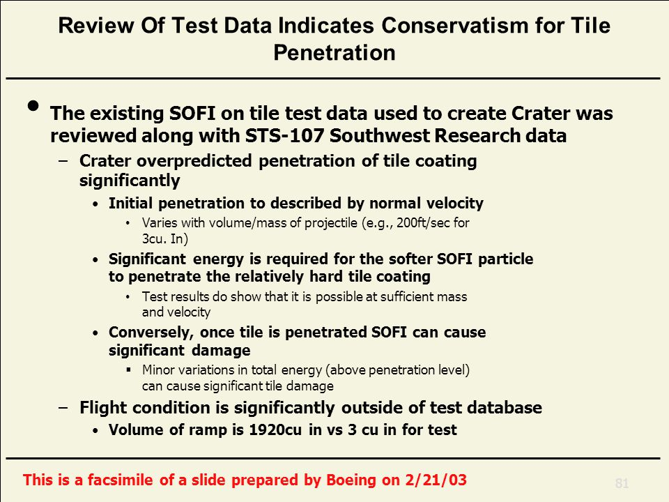 Review Of Test Data Indicates Conservatism for Tile Penetration The existing SOFI on tile test data used to create Crater was reviewed along with STS-