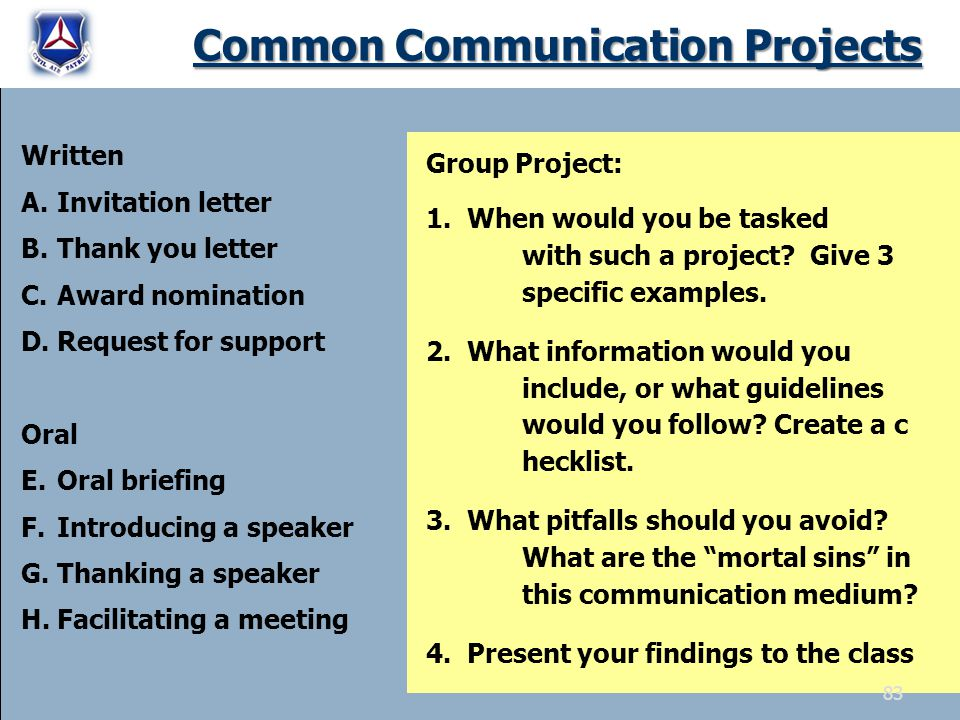 Common Communication Projects Written A.Invitation letter B.Thank you letter C.Award nomination D.Request for support Oral E.Oral briefing F.Introducing a speaker G.Thanking a speaker H.Facilitating a meeting Group Project: 1.