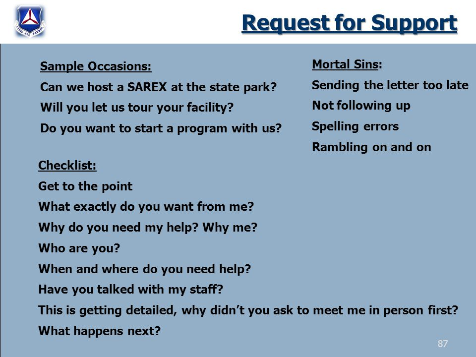 Request for Support Sample Occasions: Can we host a SAREX at the state park.