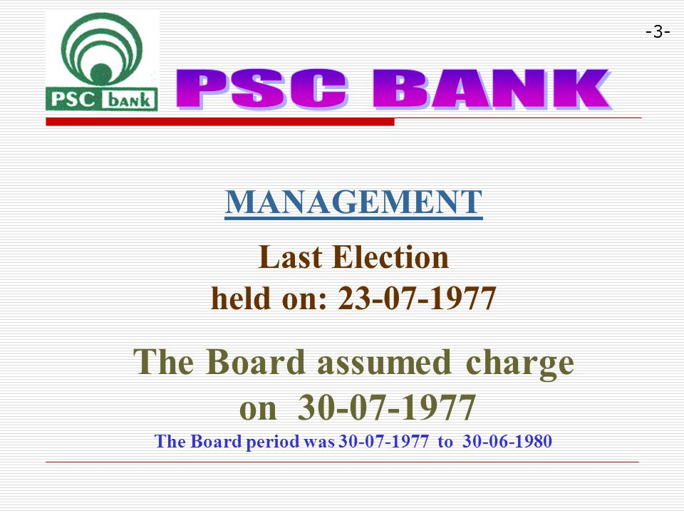 MANAGEMENT Last Election held on: 23-07-1977 The Board assumed charge on 30-07-1977 The Board period was 30-07-1977 to 30-06-1980 -3-