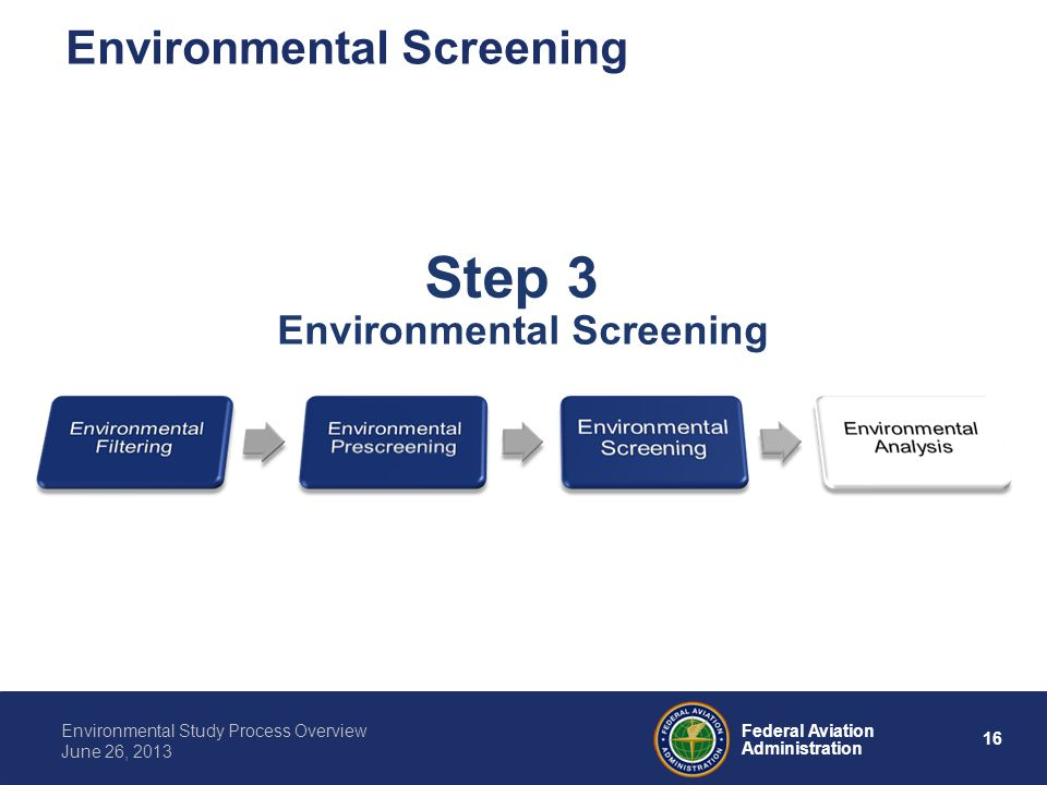 16 Federal Aviation Administration Environmental Study Process Overview June 26, 2013 Step 3 Environmental Screening
