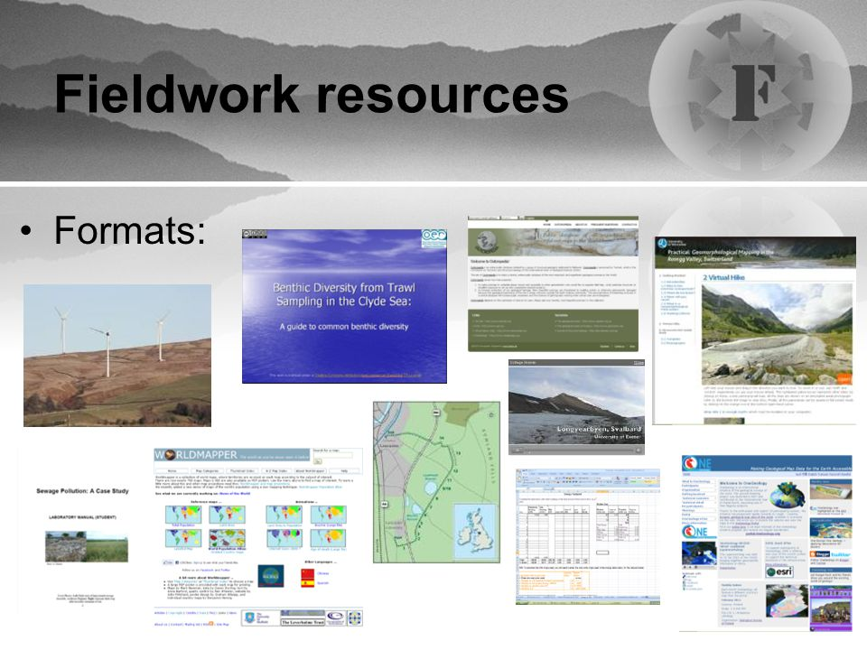 Fieldwork resources Formats: