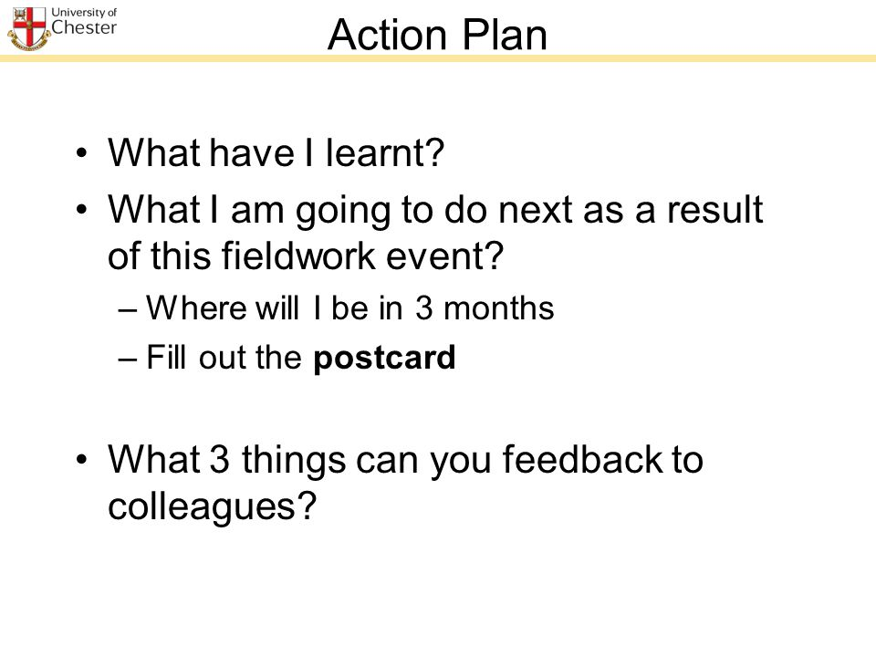 Action Plan What have I learnt. What I am going to do next as a result of this fieldwork event.