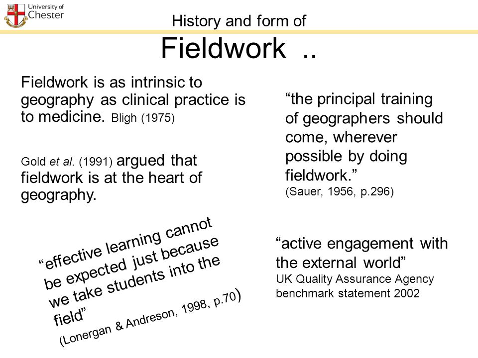 History and form of Fieldwork..