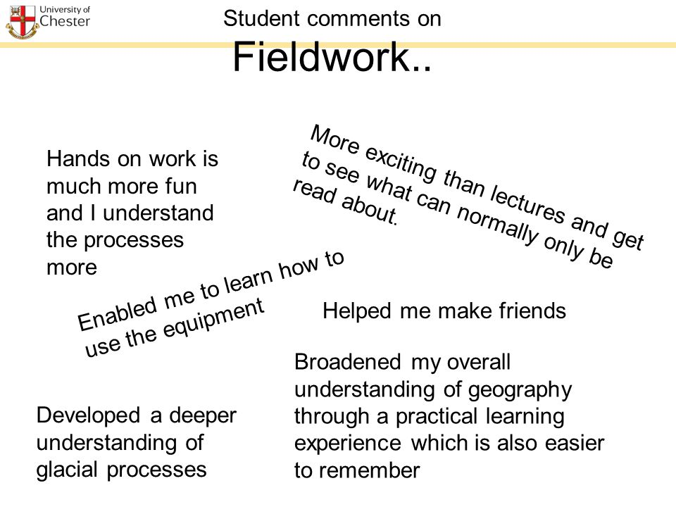 Student comments on Fieldwork..