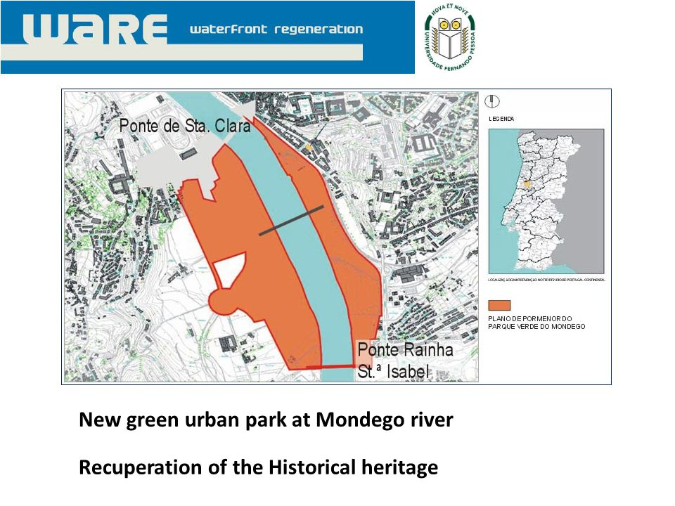 New green urban park at Mondego river Recuperation of the Historical heritage