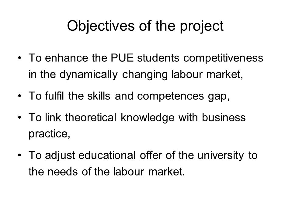 Objectives of the project To enhance the PUE students competitiveness in the dynamically changing labour market, To fulfil the skills and competences gap, To link theoretical knowledge with business practice, To adjust educational offer of the university to the needs of the labour market.