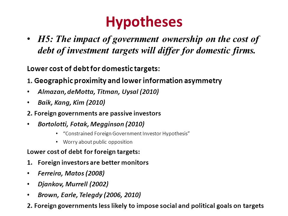 Hypotheses H5: The impact of government ownership on the cost of debt of investment targets will differ for domestic firms. Lower cost of debt for dom