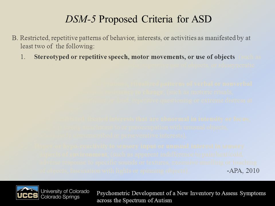 DSM-5 Proposed Criteria for ASD B.