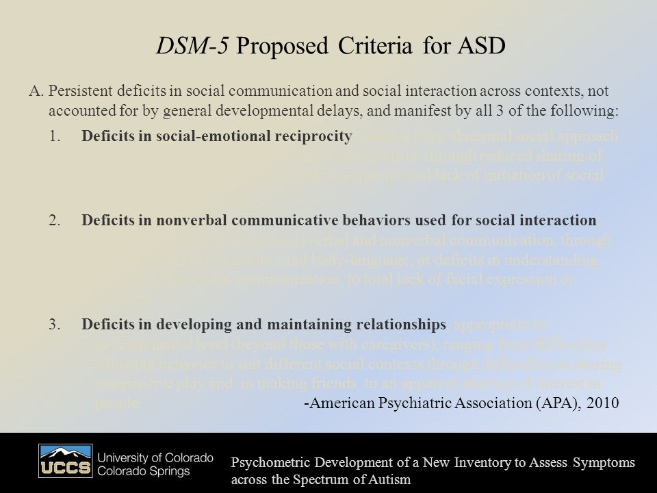 DSM-5 Proposed Criteria for ASD A.
