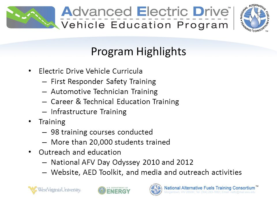 Program Highlights Electric Drive Vehicle Curricula – First Responder Safety Training – Automotive Technician Training – Career & Technical Education Training – Infrastructure Training Training – 98 training courses conducted – More than 20,000 students trained Outreach and education – National AFV Day Odyssey 2010 and 2012 – Website, AED Toolkit, and media and outreach activities