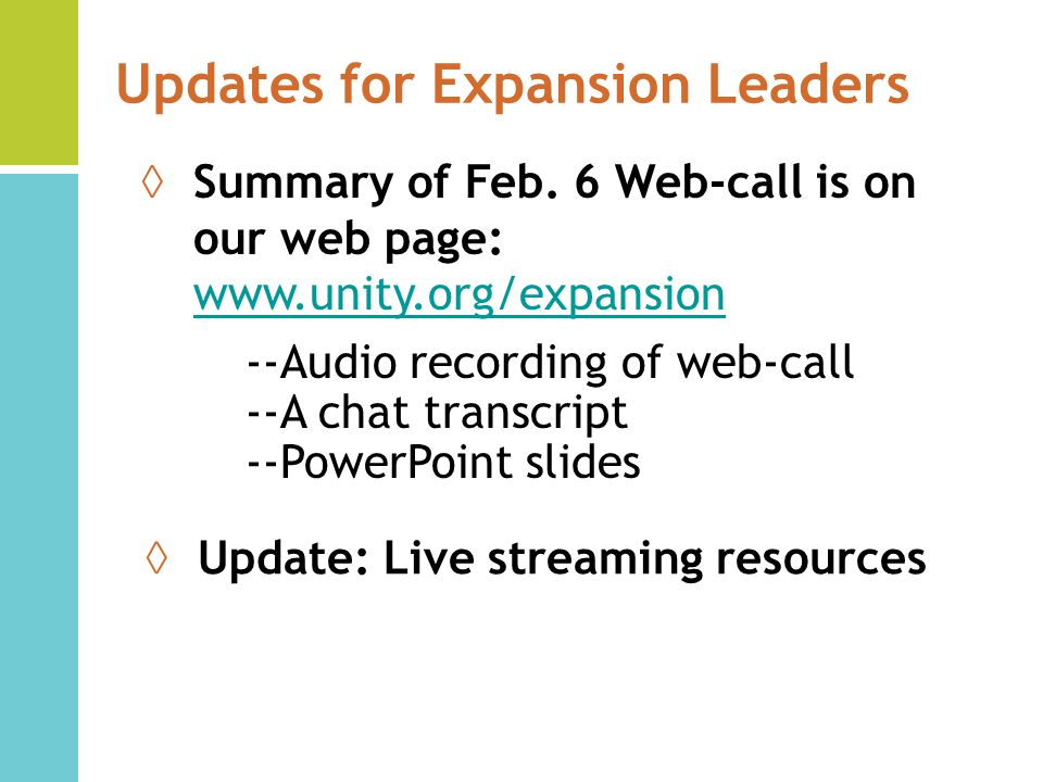 Updates for Expansion Leaders Summary of Feb.