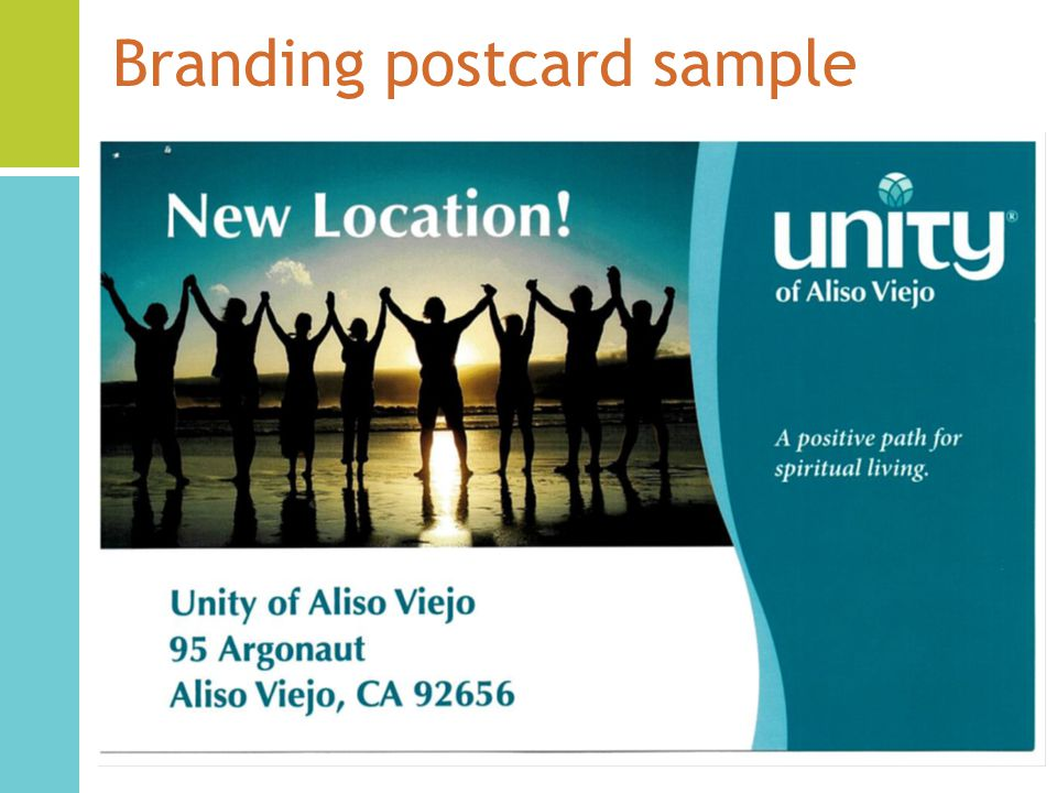 Branding postcard sample