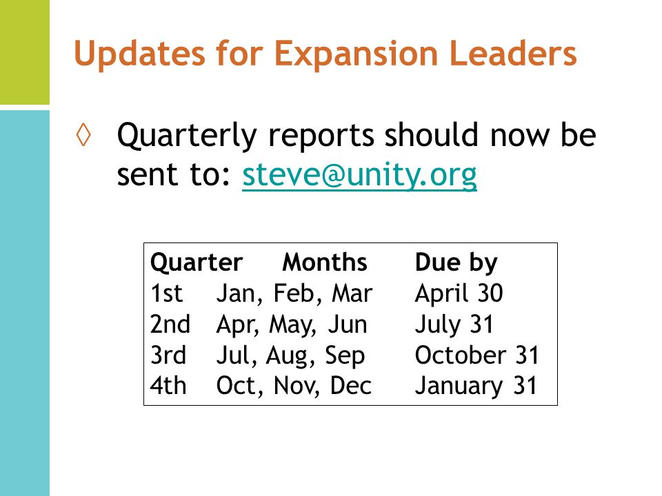 Updates for Expansion Leaders Quarterly reports should now be sent to: steve@unity.orgsteve@unity.org QuarterMonthsDue by 1stJan, Feb, MarApril 30 2nd Apr, May, JunJuly 31 3rd Jul, Aug, SepOctober 31 4th Oct, Nov, DecJanuary 31