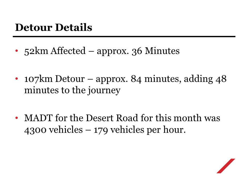 52km Affected – approx. 36 Minutes 107km Detour – approx.