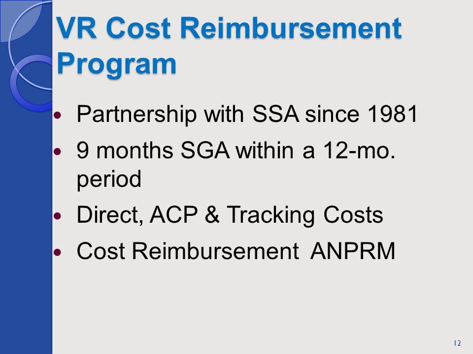 VR Cost Reimbursement Program Partnership with SSA since 1981 9 months SGA within a 12-mo.