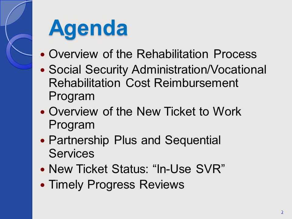 Agenda Overview of the Rehabilitation Process Social Security Administration/Vocational Rehabilitation Cost Reimbursement Program Overview of the New Ticket to Work Program Partnership Plus and Sequential Services New Ticket Status: In-Use SVR Timely Progress Reviews 2